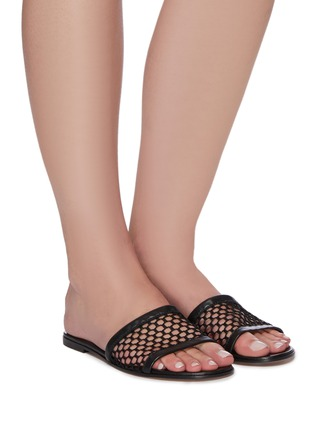 Figure View - Click To Enlarge - GIANVITO ROSSI - Fishnet mesh flat slides