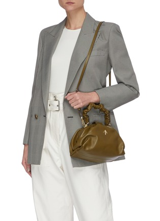 Figure View - Click To Enlarge - MANU ATELIER - Ruched Demi' top handle leather bag