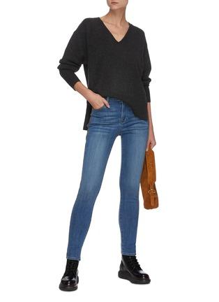 Figure View - Click To Enlarge - FRAME DENIM - Le High' Contrast Seam Crop Denim Skinny Jeans