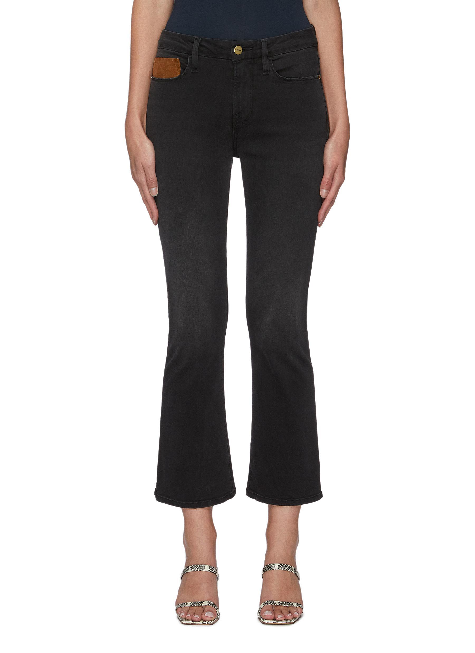 Le Crop' Suede Pocket Boot Cut Denim Jeans