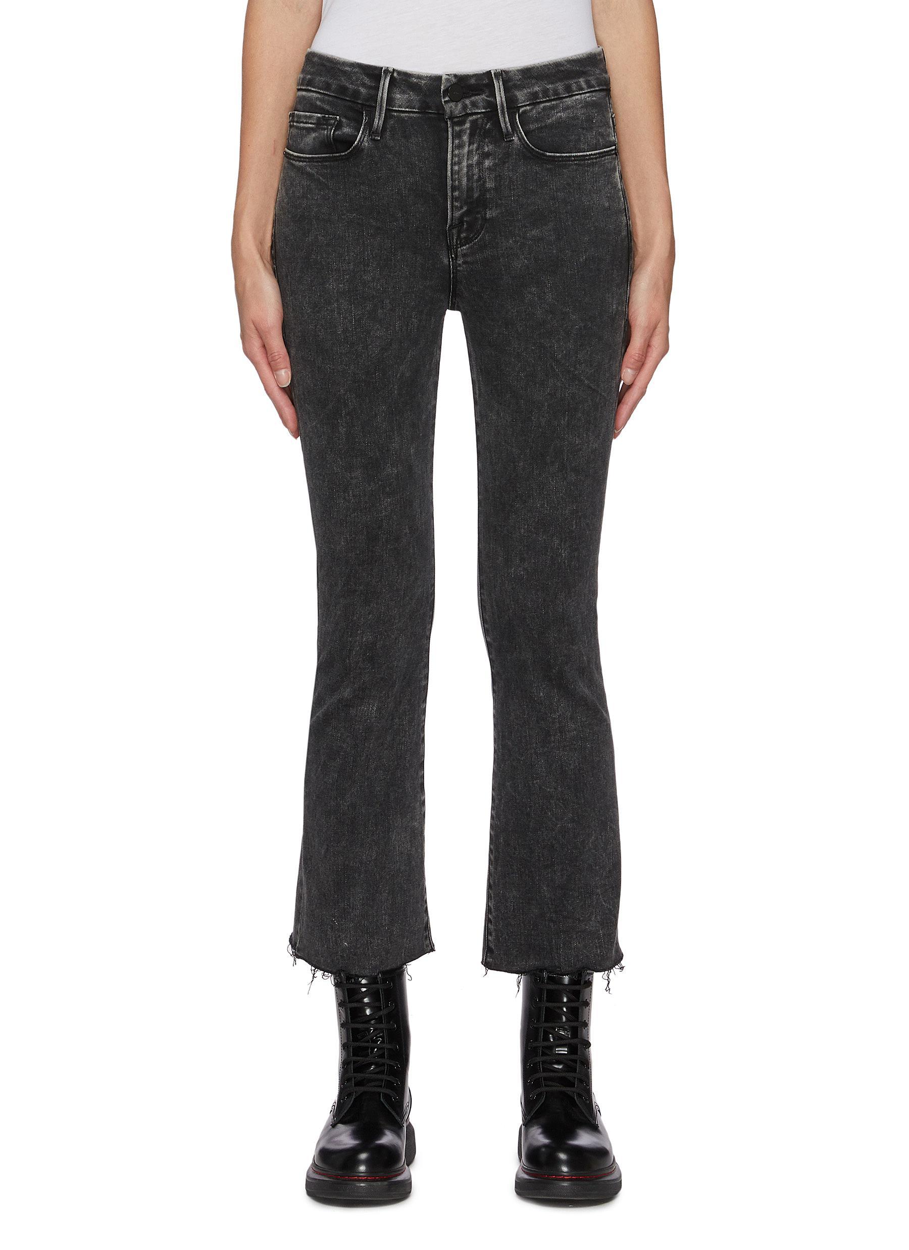 Le Crop' Boot Cut Raw Edge Wash Denim Jeans