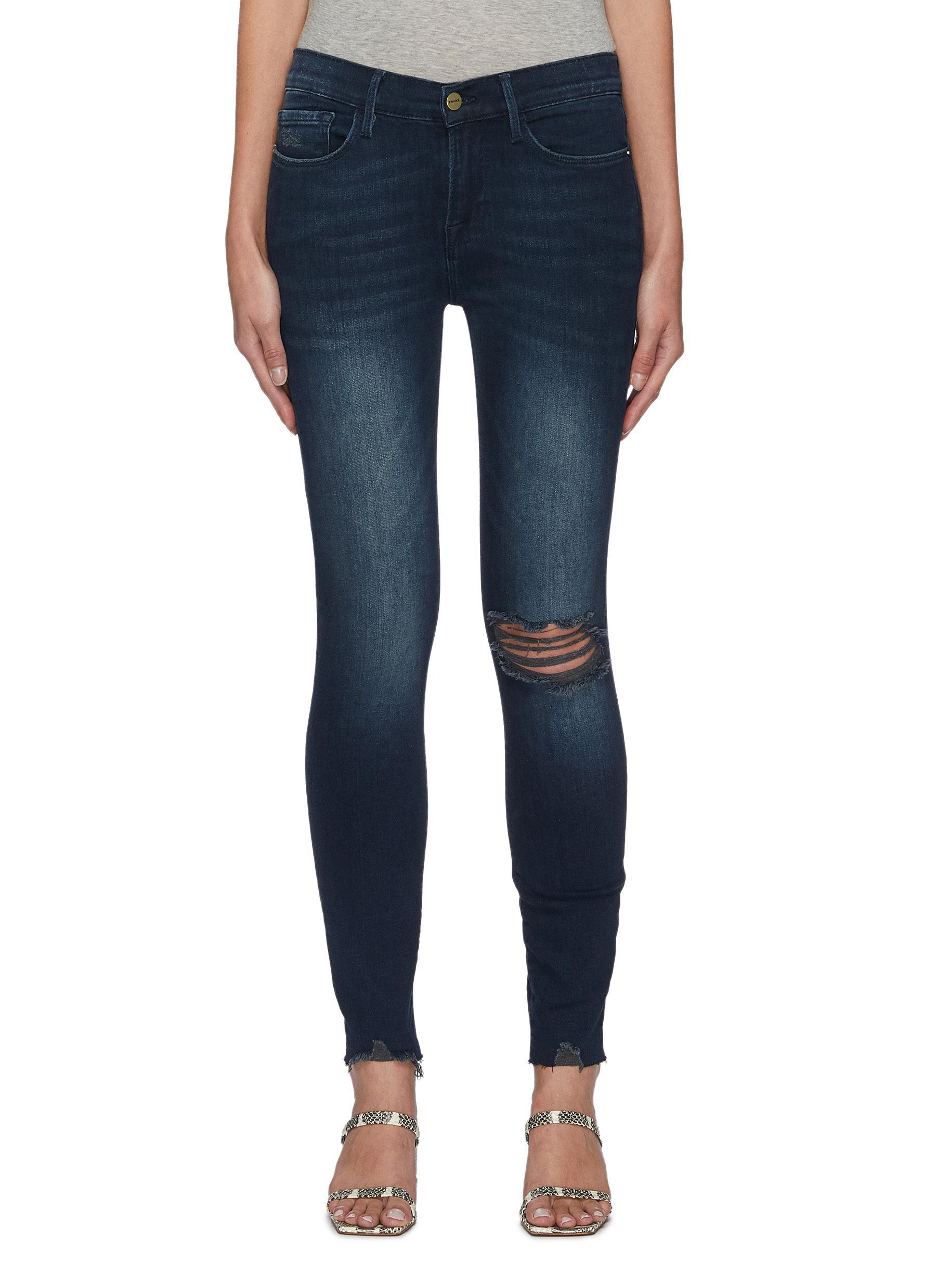Le Skinny de Jeanne' Distressed Denim Skinny Jeans