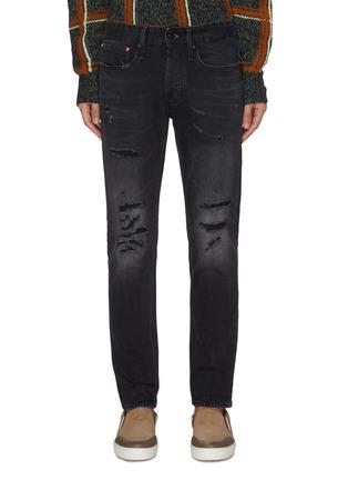 Main View - Click To Enlarge - DENHAM - 'Razor BLBR' slim fit rip and repair jeans