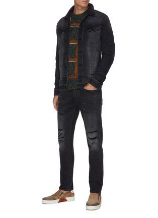 Figure View - Click To Enlarge - DENHAM - 'Razor BLBR' slim fit rip and repair jeans