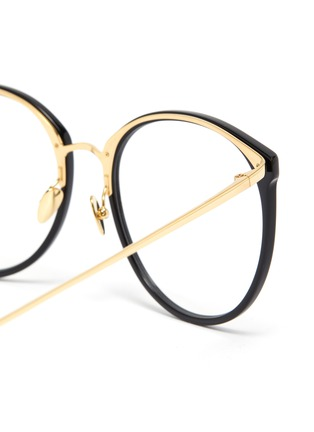 Detail View - Click To Enlarge - LINDA FARROW VINTAGE - Acetate frame metal temples rounded optical glasses