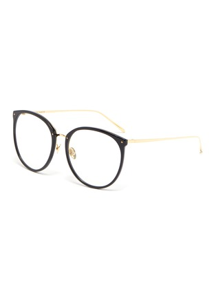 Main View - Click To Enlarge - LINDA FARROW VINTAGE - Acetate frame metal temples rounded optical glasses