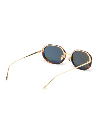Figure View - Click To Enlarge - LINDA FARROW VINTAGE - Tortoiseshell effect acetate frame metal temples oval sunglasses