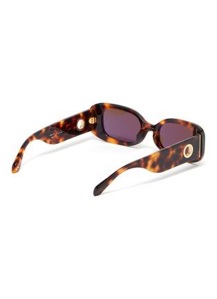Figure View - Click To Enlarge - LINDA FARROW - Tortoiseshell effect acetate frame rectangular sunglasses