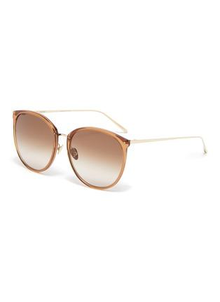 Main View - Click To Enlarge - LINDA FARROW - Acetate frame metal tips cateye sunglasses