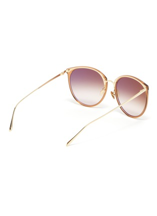 Figure View - Click To Enlarge - LINDA FARROW - Acetate frame metal tips cateye sunglasses