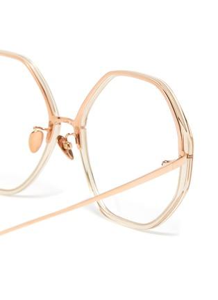 Detail View - Click To Enlarge - LINDA FARROW VINTAGE - Acetate frame metal temples hexagonal optical glasses