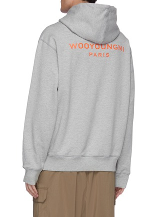 Back View - Click To Enlarge - WOOYOUNGMI - Embroidered logo patch cotton hoodie
