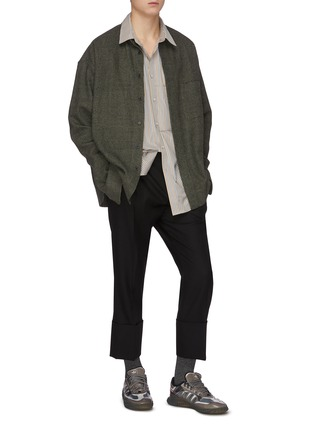 Figure View - Click To Enlarge - WOOYOUNGMI - Turn up hem wool pants