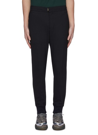 Main View - Click To Enlarge - WOOYOUNGMI - Elastic drawstring waist tapered wool blend jogging pants