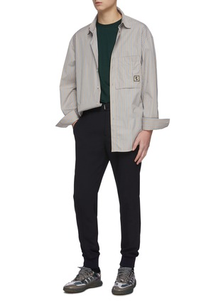 Figure View - Click To Enlarge - WOOYOUNGMI - Elastic drawstring waist tapered wool blend jogging pants