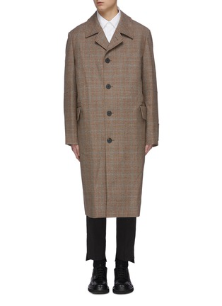Main View - Click To Enlarge - WOOYOUNGMI - Single breasted check wool long coat