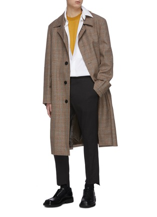 Figure View - Click To Enlarge - WOOYOUNGMI - Single breasted check wool long coat