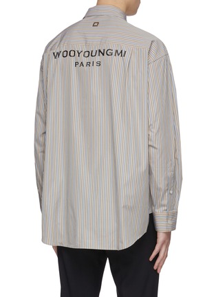 Back View - Click To Enlarge - WOOYOUNGMI - Stripe logo pocket button pleated back shirt