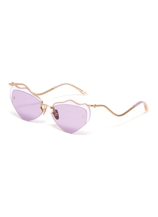 Main View - Click To Enlarge - MØY ATELIER - Forget Me Not' metal rim wire frame cateye sunglasses