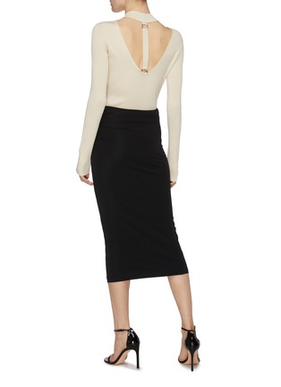 Figure View - Click To Enlarge - HELMUT LANG - Twist detail snap button midi skirt