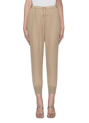 Main View - Click To Enlarge - THEORY - Drawstring waist ribbed cuff silk pants