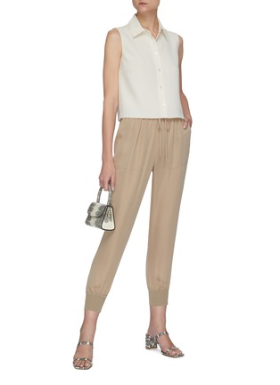Figure View - Click To Enlarge - THEORY - Drawstring waist ribbed cuff silk pants
