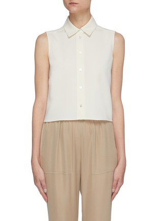 Main View - Click To Enlarge - THEORY - Classic tailored sleeveless shrunken shirt