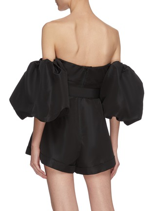 Back View - Click To Enlarge - SELF-PORTRAIT - Balloon sleeve taffeta playsuit