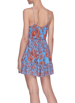 Back View - Click To Enlarge - ALICE + OLIVIA - Cheyla' floral print sleeveless panelled drawstring mini dress