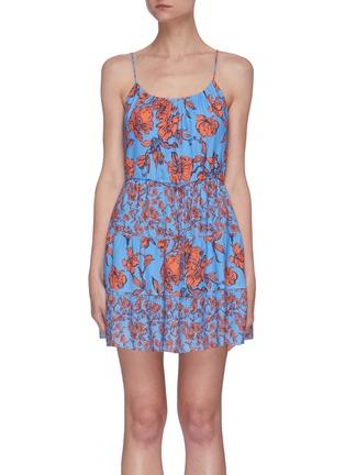 Main View - Click To Enlarge - ALICE + OLIVIA - Cheyla' floral print sleeveless panelled drawstring mini dress