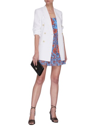 Figure View - Click To Enlarge - ALICE + OLIVIA - Cheyla' floral print sleeveless panelled drawstring mini dress