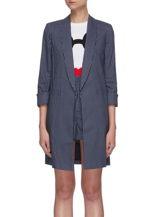 Main View - Click To Enlarge - ALICE + OLIVIA - Kylie shawl lapel stripe long blazer