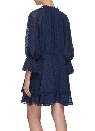 Back View - Click To Enlarge - ALICE + OLIVIA - Joanne blouson sleeve tie neck handkerchief mini dress