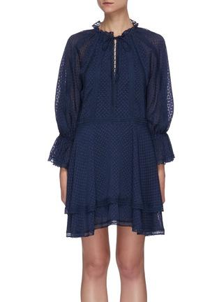 Main View - Click To Enlarge - ALICE + OLIVIA - Joanne blouson sleeve tie neck handkerchief mini dress
