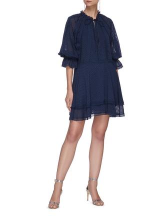 Figure View - Click To Enlarge - ALICE + OLIVIA - Joanne blouson sleeve tie neck handkerchief mini dress