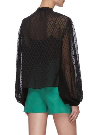 Back View - Click To Enlarge - ALICE + OLIVIA - Julius blouson sleeve sheer silk blend top
