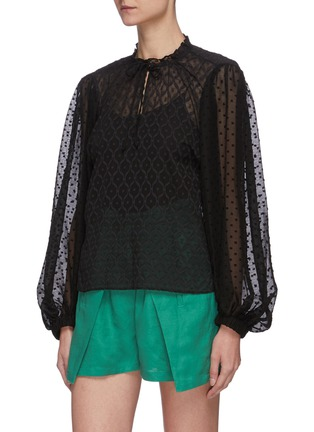 Front View - Click To Enlarge - ALICE + OLIVIA - Julius blouson sleeve sheer silk blend top