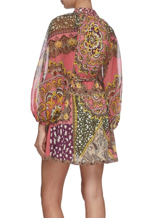 Back View - Click To Enlarge - ALICE + OLIVIA - 'Lilian' graphic print long sleeve mini dress
