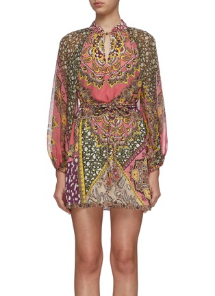 Main View - Click To Enlarge - ALICE + OLIVIA - 'Lilian' graphic print long sleeve mini dress