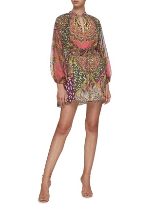 Figure View - Click To Enlarge - ALICE + OLIVIA - 'Lilian' graphic print long sleeve mini dress