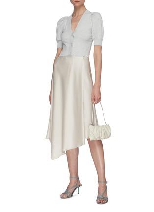 Figure View - Click To Enlarge - ALICE + OLIVIA - Jayla asymmetric draped slit midi skirt