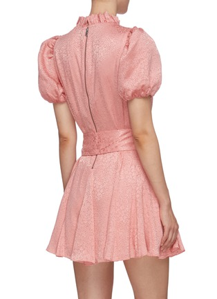 Back View - Click To Enlarge - ALICE + OLIVIA - 'Mina' puff sleeve belted godet dress