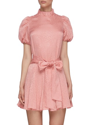 Main View - Click To Enlarge - ALICE + OLIVIA - 'Mina' puff sleeve belted godet dress