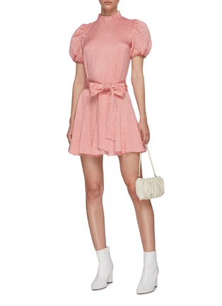 Figure View - Click To Enlarge - ALICE + OLIVIA - 'Mina' puff sleeve belted godet dress