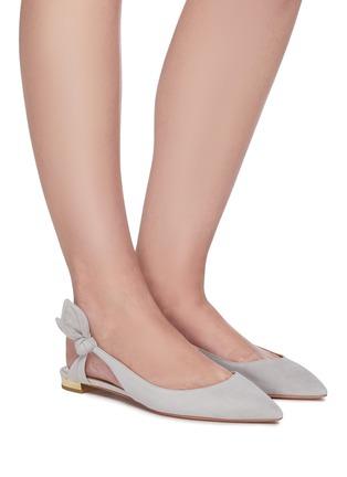 Figure View - Click To Enlarge - AQUAZZURA - Drew Bow tie suede ballerina flats