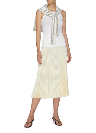Figure View - Click To Enlarge - EQUIL - High waist thick band pleated midi skirt