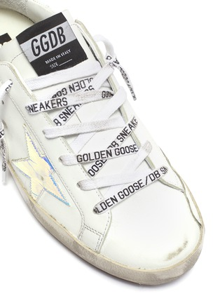 Detail View - Click To Enlarge - GOLDEN GOOSE - Superstar iridescent patch logo lace sneakers