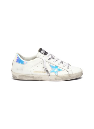 Main View - Click To Enlarge - GOLDEN GOOSE - Superstar iridescent patch logo lace sneakers