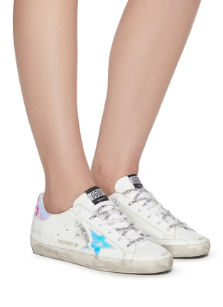 Figure View - Click To Enlarge - GOLDEN GOOSE - Superstar iridescent patch logo lace sneakers