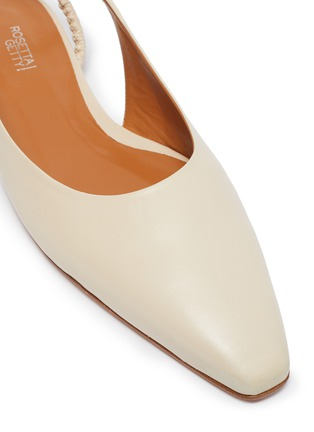 Detail View - Click To Enlarge - ROSETTA GETTY - Point toe ruched slingback leather flats